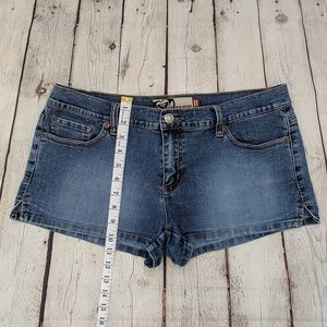 Roxy Shorts - Roxy Heart Embroidered Blue Jean Stretch Shorts